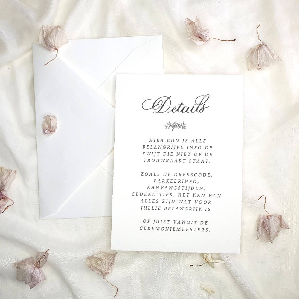 romantische detailkaart copperplate kalligrafie handgeschept papier