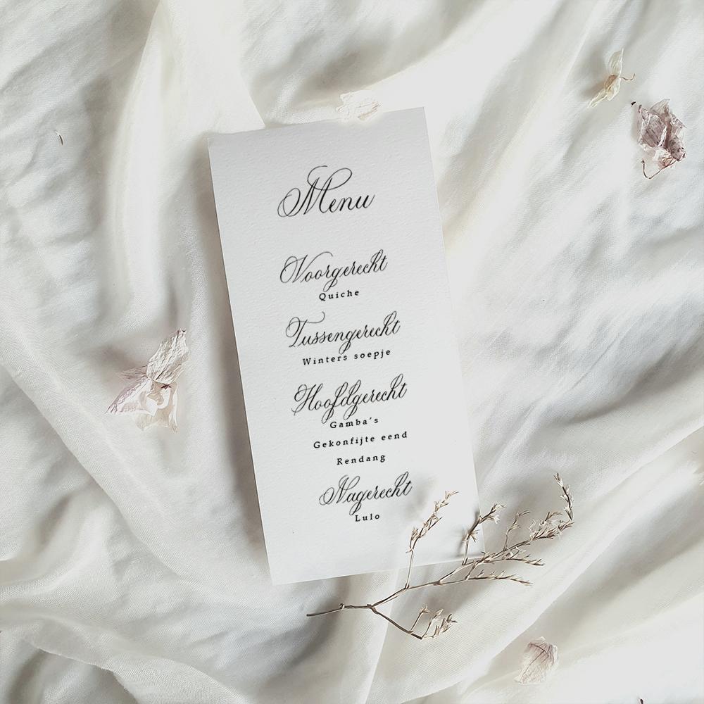 stijlvolle menu kaart klassieke kalligrafie