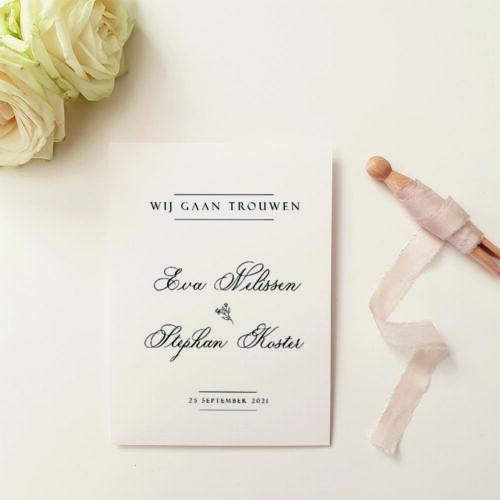 stijlvolle trouwkaart klassieke kalligrafie met mockop