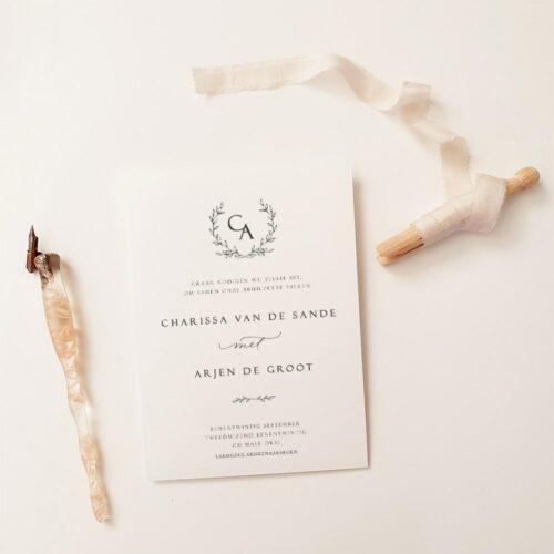 stijlvolle trouwkaart meta moderne kalligrafie