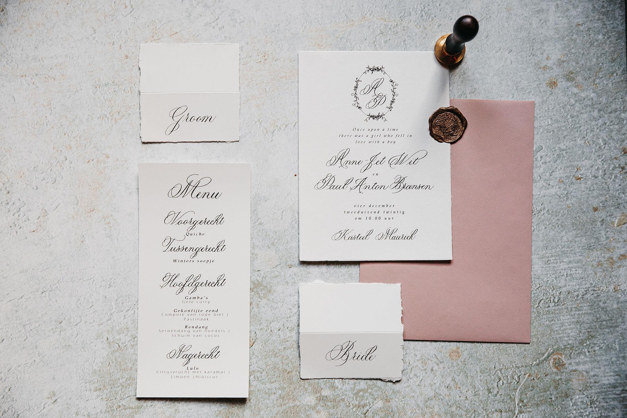 huisstijl klassieke kalligrafie bruiloft