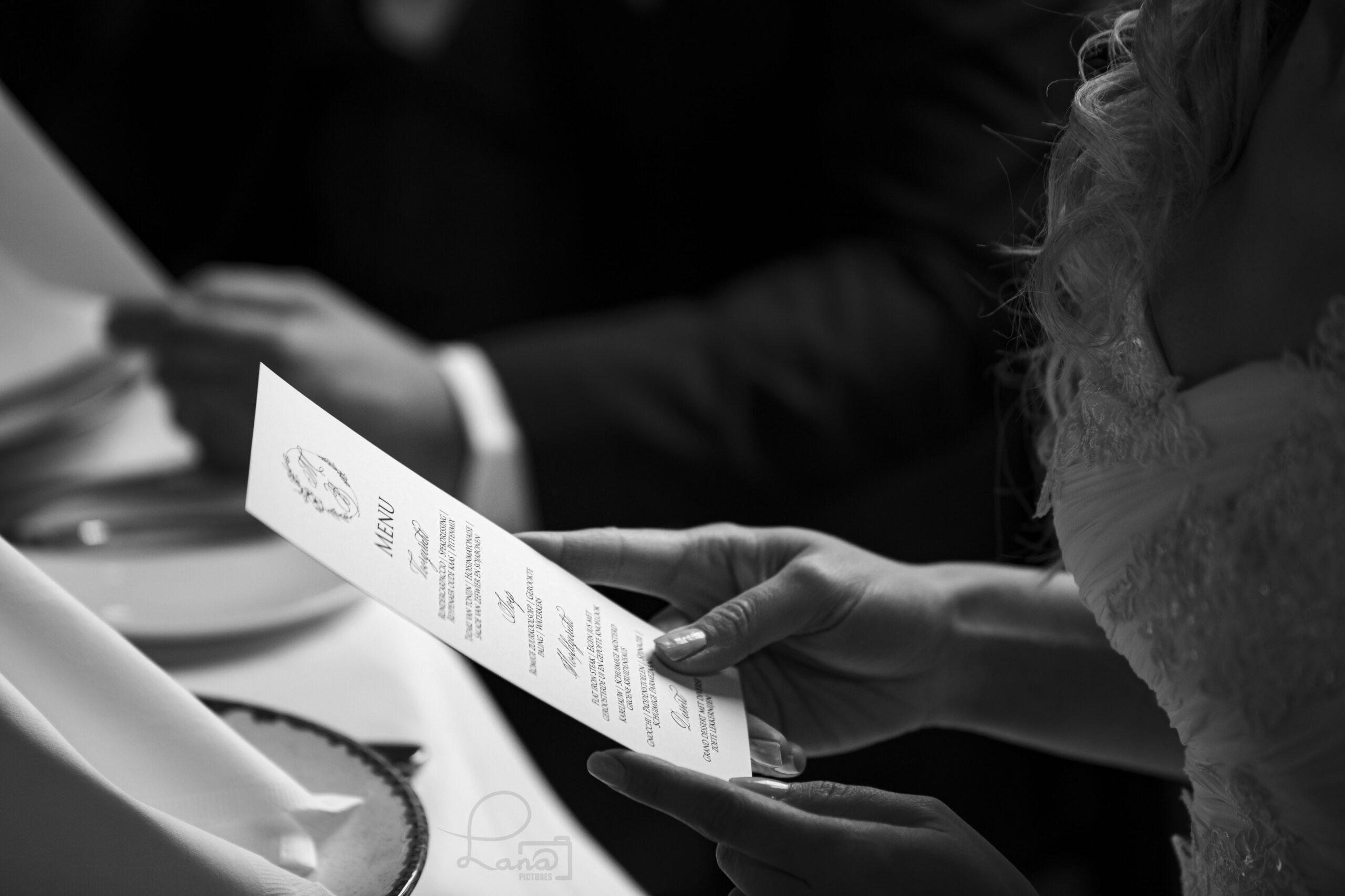 bruiloft menukaart kalligraferen