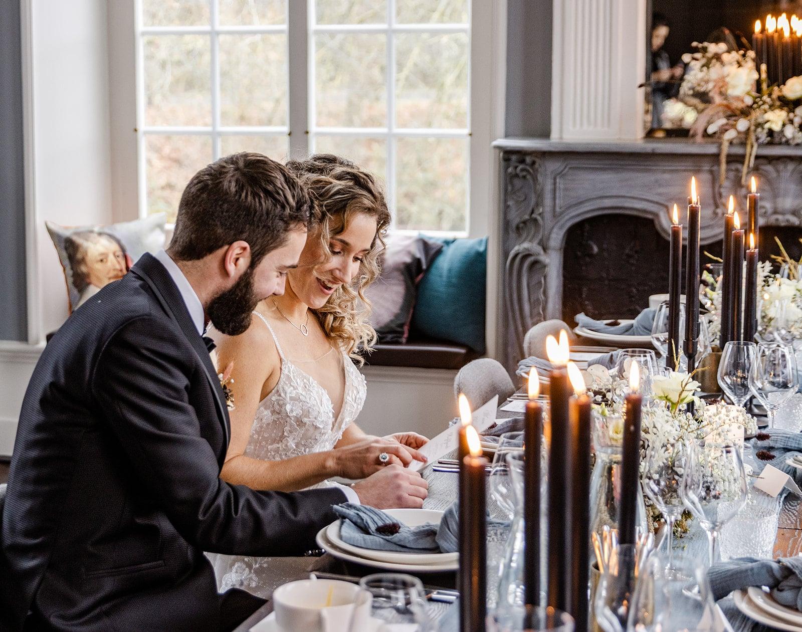 diner bruiloft met gestylde tafel