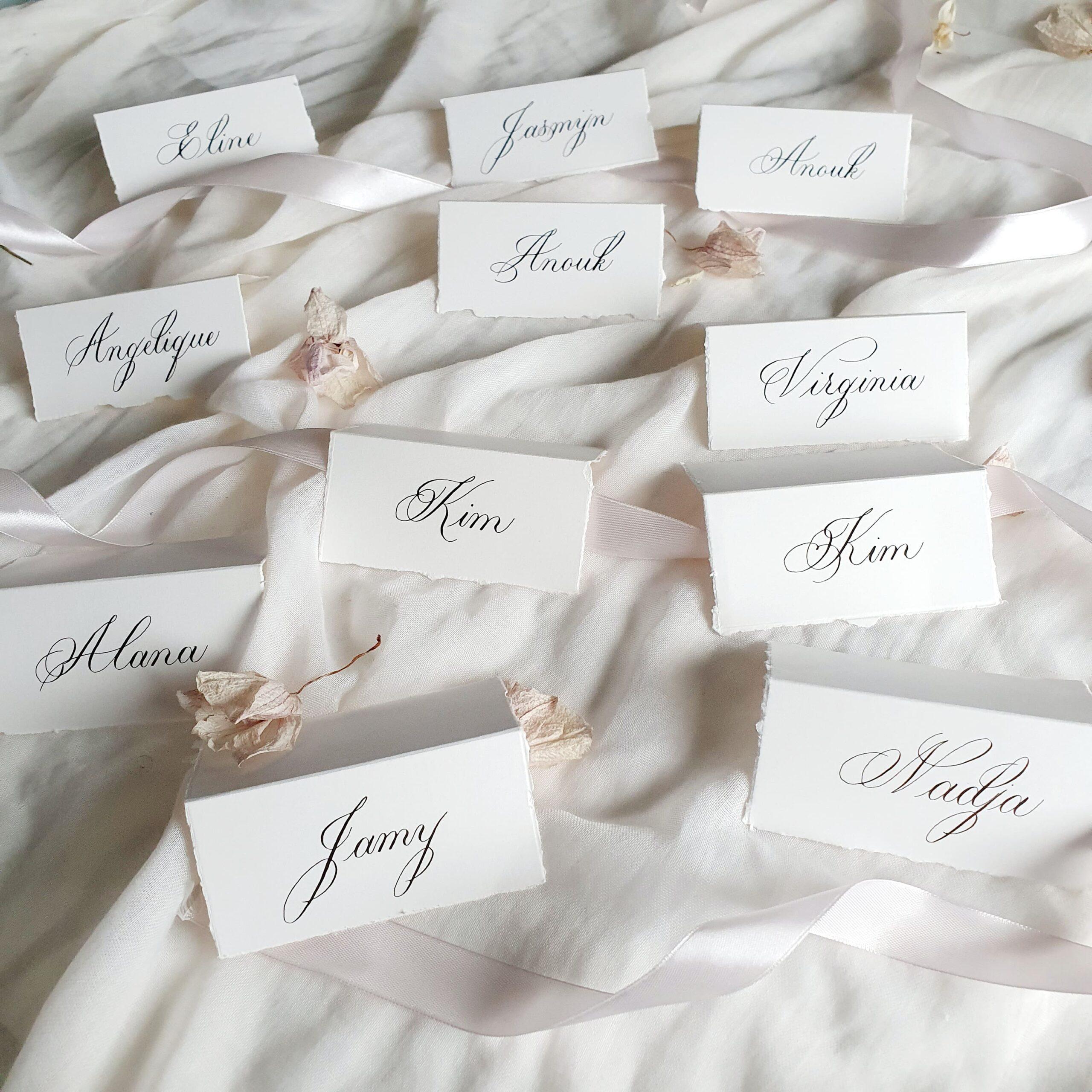 naamkaartjes klassieke kalligrafie