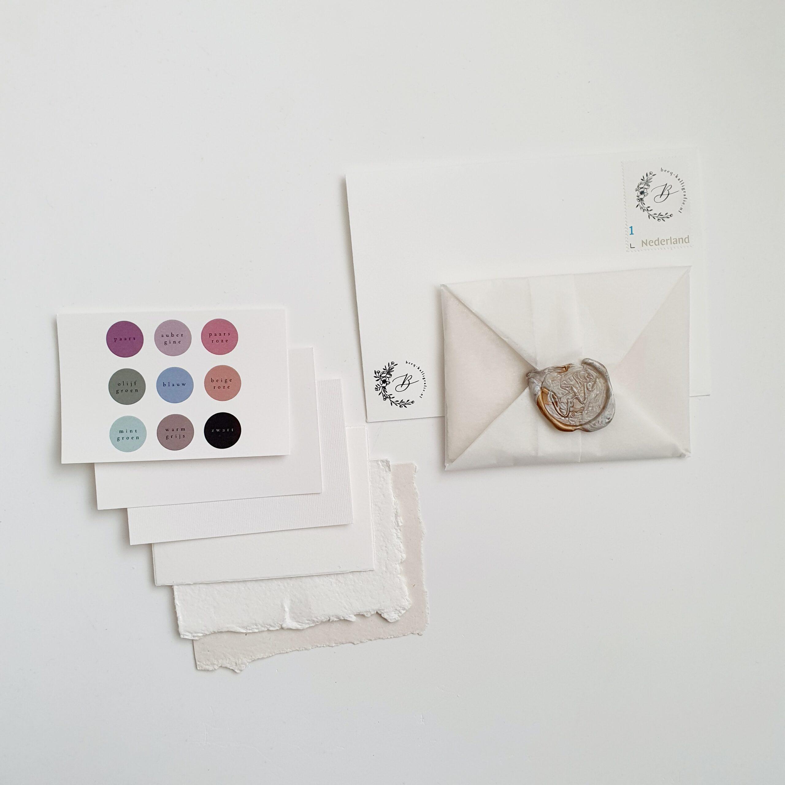 samplepakketjes voor bruiloft kalligrafie
