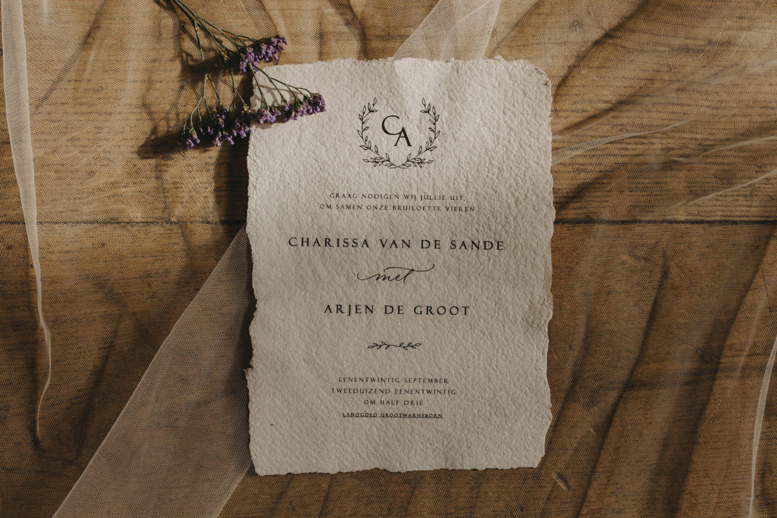 bruiloft kalligrafie stijlvolle trouwkaart handgeschept papier-min