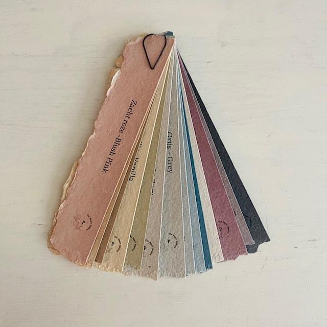 kleurenwaaier handgeschept papier