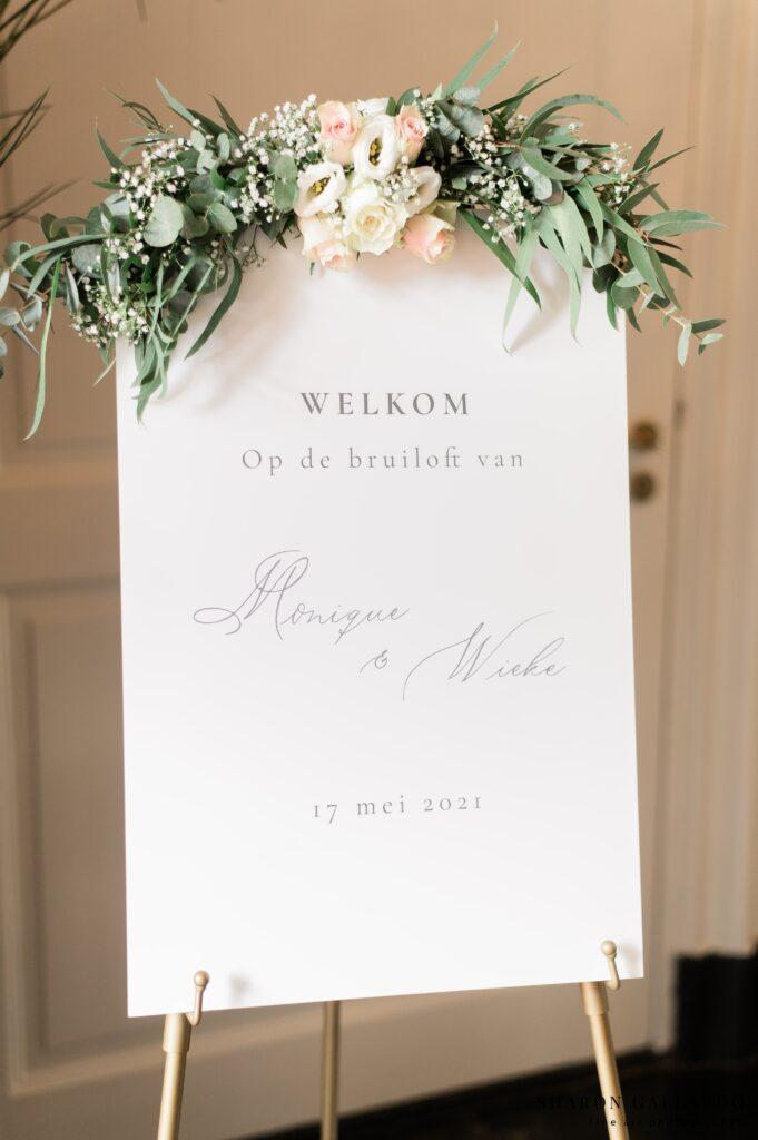 Welkomst bord bruiloft