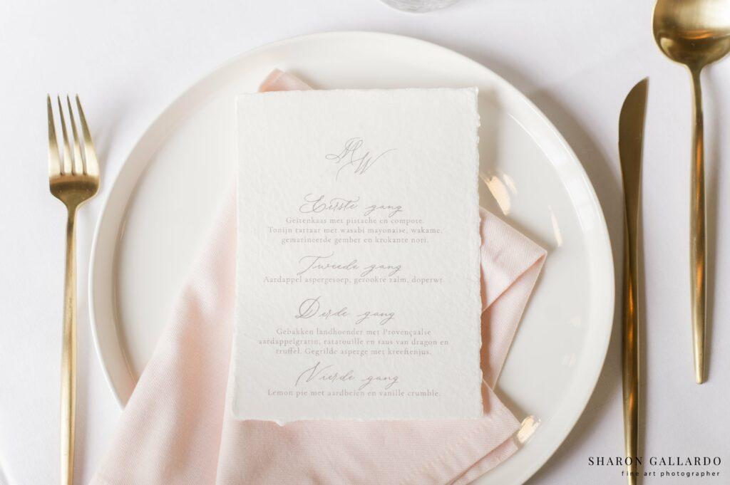menukaart bruiloft met kalligrafie