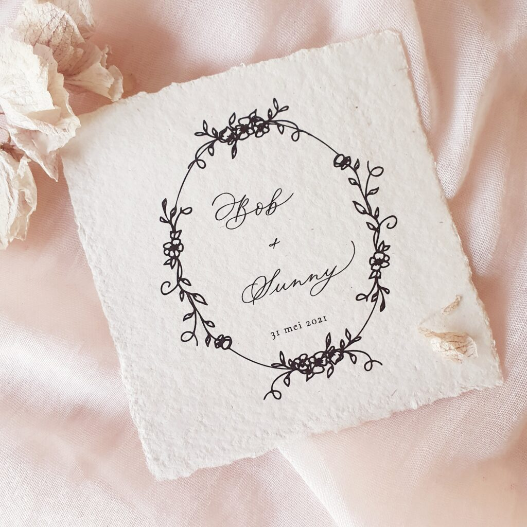 romantische trouwkaart moderne kalligrafie handgeschept papier