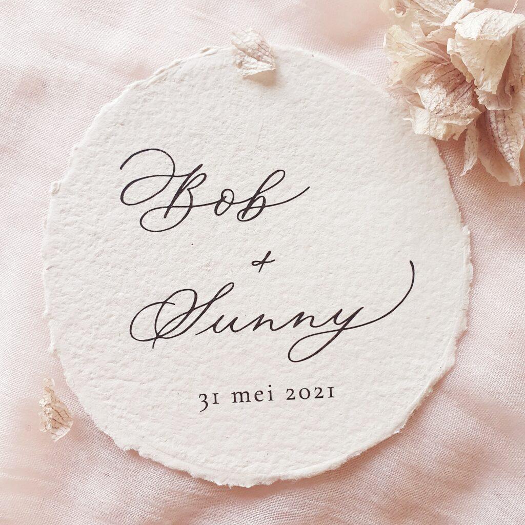 trouwkaart op maat met kalligrafie